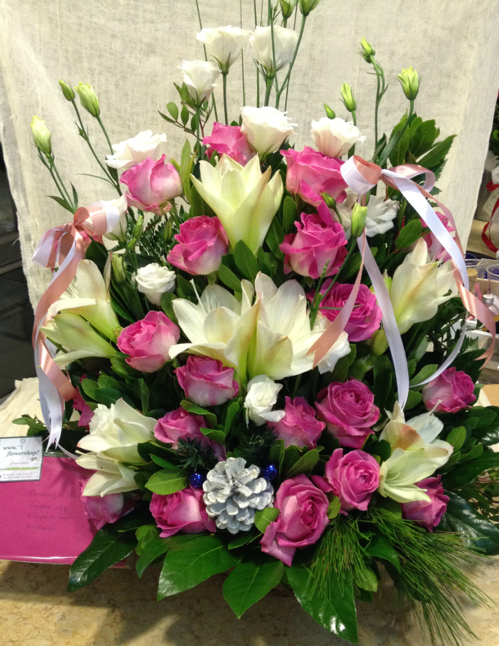 Christmas Arrangement With White Pink Flowers Decoration