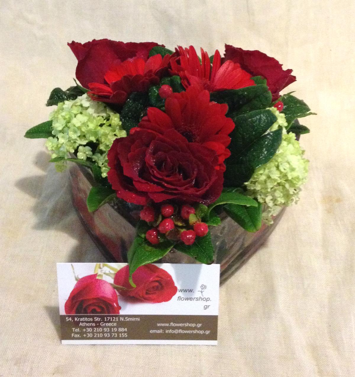 Valentine Heart Shaped Flowers In Glass - flowershop.gr