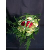 Bouquet with roses and typha.