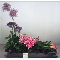 Flower arrangement on metal tray