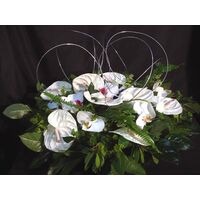 Basket with anthuriums