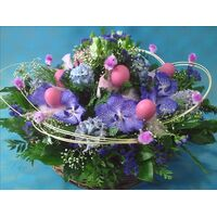 Easter basket with flowers & decorative accessories