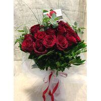 (31) κόκκινα τριαντάφυλλα Ολλανδικά μπουκέτο με πρασινάδες +  Βάζο .Σούπερ προσφορά.