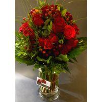 Design μπουκέτο  με (51) κόκκινα τριαντάφυλλα + Βάζο + Χρωματιστό Νερό !!!