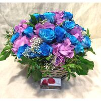 Blue Roses (21) stems exclusive in basket !!!