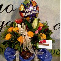 Καλάθι Γενεθλίων !!! Λουλούδια + Μπαλόνι + Σοκολατάκια.