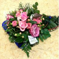 Christmas & New Year Celebrating Arrangements Flowers Blue .Trays.