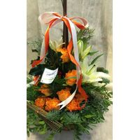 Christmas orange flowers in  basket. Exclusive!!!