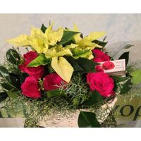 Christmas Mixed flowers & Poinsetias in  basket