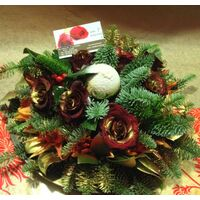 Christmas & New Year Celebrating Arrangements With Flowers & Decoration Articles .Trays.