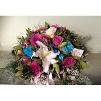 Winter basket with white & blue elegant flowers