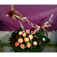 Flower arrangement on tray with Easter Decorative Hand Made Bird!!!