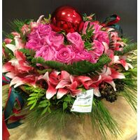 Christmas ball & flowers in  basket. Exclusive!!!