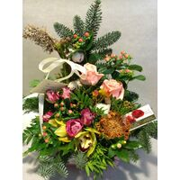 Christmas Arrangement with Waxed Roses & Decoration.