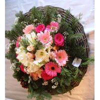 Winter basket with white & pink elegant flowers.