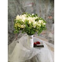 Wedding bouquet with freesias & jewels