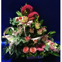 "Flower  arrangement in ceramic ""paper look"" pot . Special !!!"