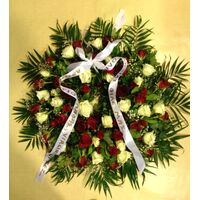 Condolences wreath with  roses