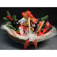 Gourmet basket Wine Chocolates Snacks Fruits Nuts Cheese Sausage