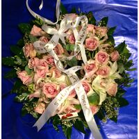 Condolences wreath with  roses & Lillies  (pink)