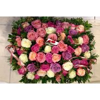 Big headed ecuadorian (best in the world) roses basket (50+ stems) with greens !!! (mixed colors)