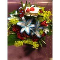 Blue Lillies & Red Roses Bouquet.