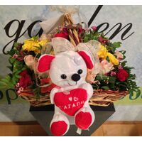 Valentine arrangement (9) red roses + balloon + bear