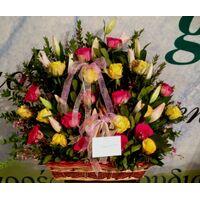 Καλάθι με Τριαντάφυλλα & Λίλιουμ Οριενταλ !!! Ανθοπωλείο flowershop.gr