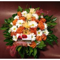 Orange color flowers in basket