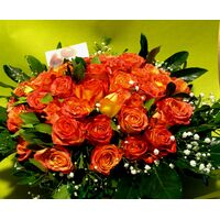 Καλάθι με (50) πορτοκαλί - σομον τριαντάφυλλα