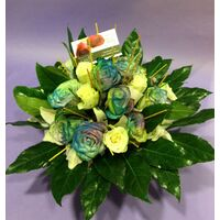 "Flower arrangement ""Rainbow Roses"" in ceramic ""paper look"" pot"