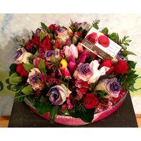 Γυάλινο βάζο με λουλούδια & διακοσμητική άμμο