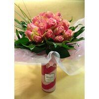 Τριαντάφυλλα Ροζ (30τεμ.) Μπουκέτο σε βάζο με διακοσμητική άμμο !!!