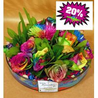 "Arrangement in glass with ""Rainbow"" Roses & Chrysanths"