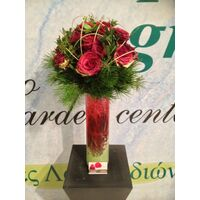 Design bouquet (21) red roses Extra Quality Dutch + Colored Gel + Vase!!!