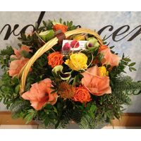 Winter basket with salmon elegant flowers.