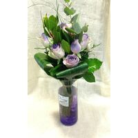 "Roses ""Safi""  Exclusive Purple Color. Wedding favourites. (11) stems bouquet with greens in vase."