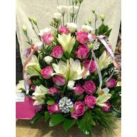 Christmas Arrangement with White & Pink Flowers & Decoration.