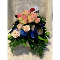 Blue & Pink  Roses  For Twins