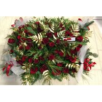 Christmas red roses (85) stems in  basket. Exclusive!!!