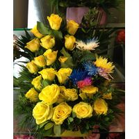 "Flower  arrangement with yellow roses in ceramic ""paper look"" pot . Special !!!"