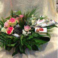 Christmas waxed roses & flowers in  basket. Exclusive!!!
