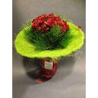 Design μπουκέτο  με (21) κόκκινα τριαντάφυλλα + Βάζο !!!