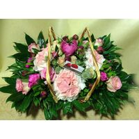 Paeonias (15) stems mixed with season flowers. Exclusive Basket !!!
