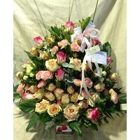 """Only""  Pink Roses Basket. Exclusive."