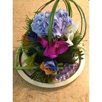 "Flower arrangement on tray ""rainbow flowers"""