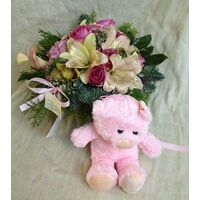 "Arrangement  ""Christmas"" for new born baby girl +Teddy !! (also available in blue)"