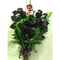 Roses black (21) stems bouquet + vase gift wrapped with greens.