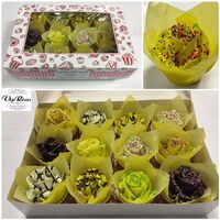 (12) Exclusive Waxed Cupcakes or Chocolate Roses