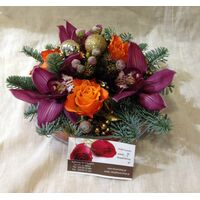 Christmas Glass with  flowers & decoration. Exclusive!!!